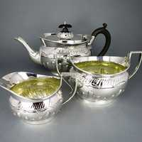 Rich antique Victorian silver tea set