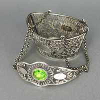 Georgian 750 silver yarn basket with peridot