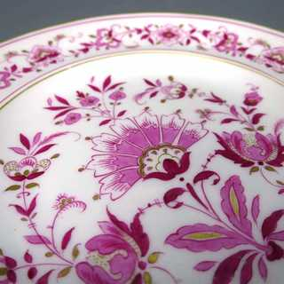 Small porcelain plate with purple india decor Meissen