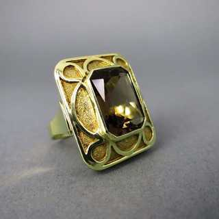 Unique hand made goldsmiths work gold ring with a huge smoky topaz