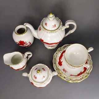 2-persons-set porcelain Meissen GDR red dragon