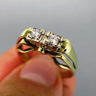 Wonderful open worked ladys gold ring with two diamonds vintage jewelry