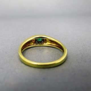 Beautiful ladys gold ring with cushior shaped emerald and diamonds vintage