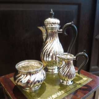 800 silver and wood mocha set Germany 1904