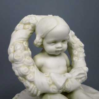 Basket with girl bisque porcelain Powolny
