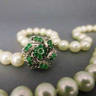 Akoya perl necklace white gold emerald clasp