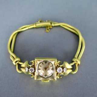 Exquisite ladys gold wrist watch with diamonds Knoll Pregizer