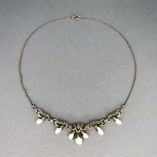 Elegant Art Deco necklace silver and pearls