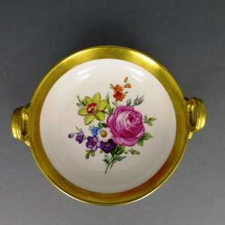 KPM Berlin porcelain bowl flowers and gold