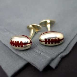 Rare Art Deco cufflinks silver and enamel Link of London Wembley rugby play 1944