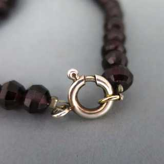 Heavy faceted garnet beads necklace with silver closure