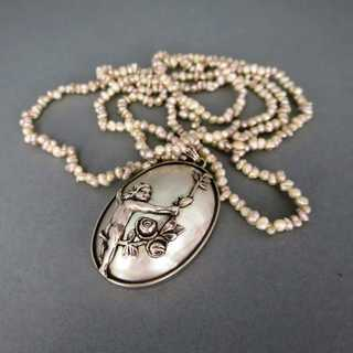 Romantic Art Nouveau ladys silver necklace with shell and pearls angel putto