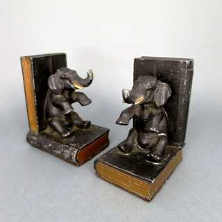 Heavy metal book ends sittig elephants books hand painted unique library gift