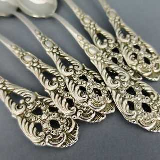 Antique set of 6 tea spoons late victorian silver open worked Germany about 1900
