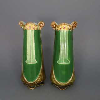 Antique majolica set of 2 vases and planter handmade Art Nouveau Austria Annodazumal
