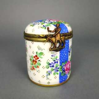 Vintage cylindrical porcelain box hand painted with brass mounting Limoges France