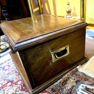 Antique englisch cutlery chest of drawers Walker & Hall oak and crystal mirror