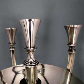WMF Art Deco huge candelabra 5 arms silver plated with decorative removable bowl