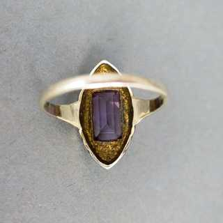 Art Deco ladys ring in silver with amethyst enamel and marcasite Pforzheim