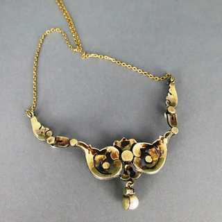 Antique Art Nouveau gold collier necklace with rose cut diamonds and pearls