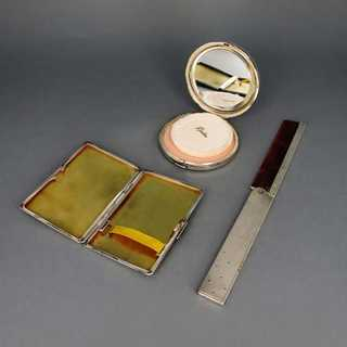 Three-pieces set compact cigarette box and a comb mounted in sterling silver