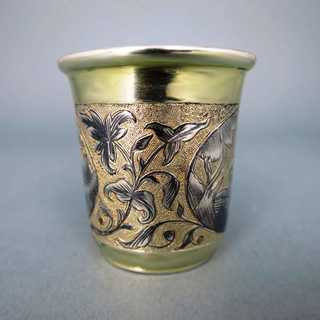 Antique silver gold niello vodka shot glass Moscow Russia Andrey Kowalski 1841