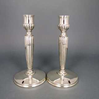 A pair of nice sterling silver candlesticks Germany Schwäbisch Gmünd ribbed