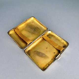 Antique cigarette box silver J. Gloster Birmingham 1918 rich engraved gilded