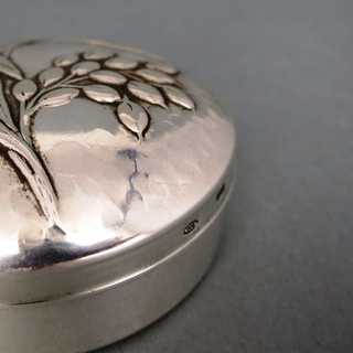 Beautiful round pill box in silver Firenze Italy handmade hammered decor