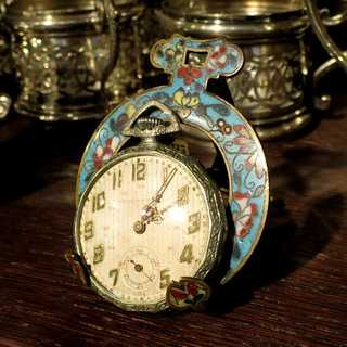 Beautiful antique victorian display for a pocket watch enamelled flower decor