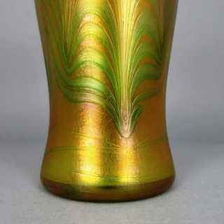 Art Nouveau glass vase weaved decor Lötz Phaenomen 1900 red orange green