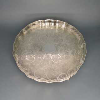 Huge and rich decorated footed tray with gallery rim Reed & Barton silver plated