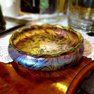 Huge Art Nouveau glass bowl Josel Rindskopf Teplitz corrugated pattern iridescent