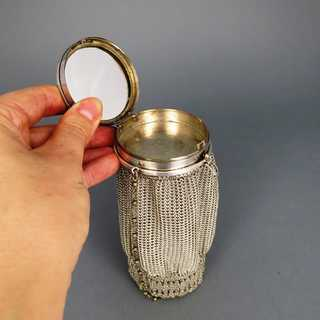 Antique mesh purse bag with compact box silver plated metal enamel and mirror