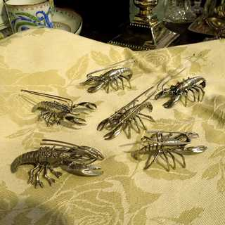 Unusual silver place card holders lobster shaped Italy Arezzo 20th century
