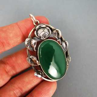 Gorgeous Art Nouveau silver pendant with chrysopras and rose with leaves