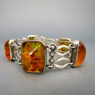 Gorgeous vintage link bracelet in silver and amber Ostseeschmuck 60ies