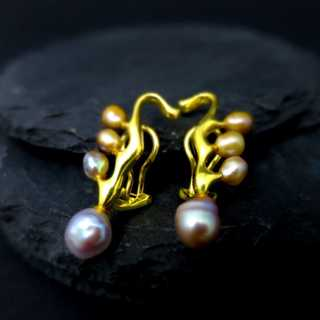 Wonderful high quality gold ear clips with pastel pearls vintage ladys jewelry