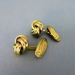 Nice and elegant cufflings in gold knot shape mens vintage jewelry