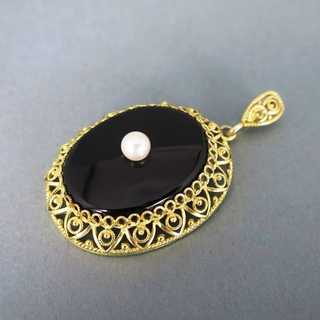 Antique pendant with black onyx and pearl filigree frame in silver and gold