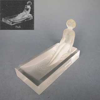 Art Deco glass dish paperweight woman in bath Heinrich Hoffmann for Schlevogt
