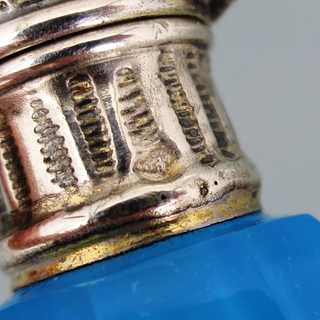 Antique Palais Royal perfume bottel blue opalin glass silver lid France 1880