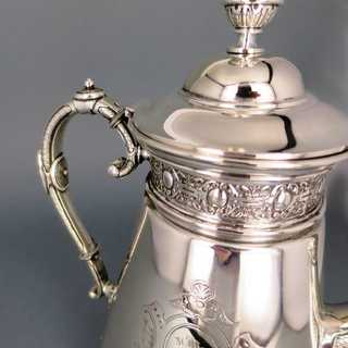 Rich antique Art Nouveau edwardian massive silver coffee pot Wilkens Germany 1904
