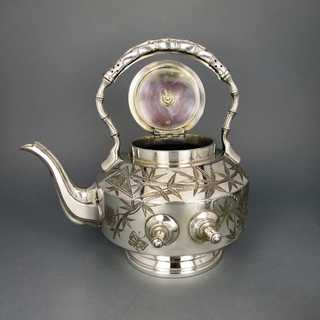 Antique Art Nouveau Japonism epoch silver plated tilting tea pot Walker Hall