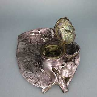 Antique writig set with ink well in pewter Art Nouveau France Jean Garnier