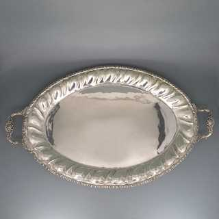 Huge early victorian antique serving tray in 900 silver with floral relief