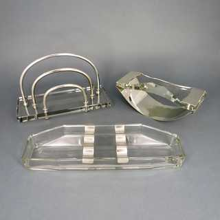 Rare Art Deco writing desk set in crystal glass and silver Germany 1920-1930