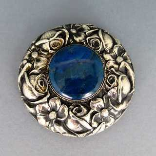 Antique Art Nouveau repusse belt buckle in silver with sodalith Gustav Hauber