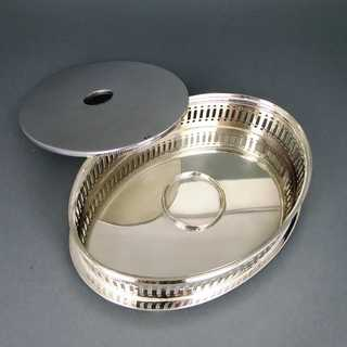 Oval vintage food or pot warmer silver plated H.E.T. Sheffield England