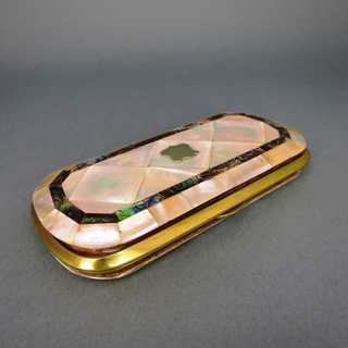 Antique glasses double case with mother of pearl and paua shell mosaic